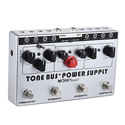 Ammoon gitaareffecten elektrisch gecombineerde effecten 3 effecten MOSKY (compressor + tube overdrive + ultieme overdrive) + 8 geïsoleerde DC 9V voedinguitgangen met voeding 8 stuks gelijkstroomkabel