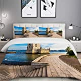 MOBEITI Bedding Juego de Funda de Edredón,Torre de Belem, Monumento de Lisboa,Microfibra Funda de Nórdico y Fundas de Almohada - 140 x 200cm