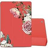 LuGeKe Funda para iPad de 10,1 pulgadas 2019 (7ª generación), con soporte delgado y suave TPU con cubierta posterior compatible con Auto Wake/Sleep, Rojo, Flor