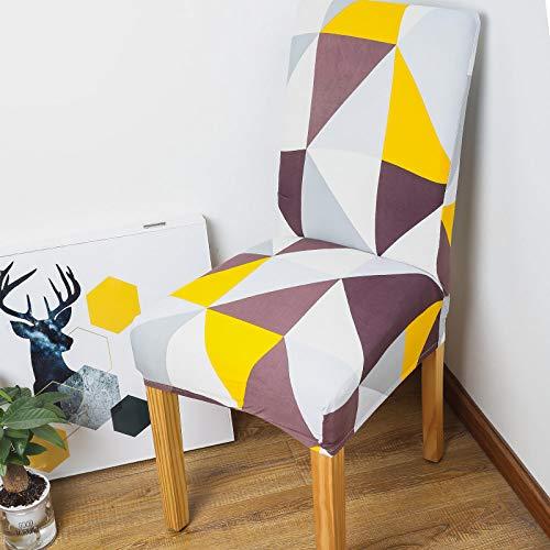 SIWANG Stretch Stuhlhussen,Stretch Dining Chair Covers Einfachheit Mehrfarbiger Strick-Dreiecksdruck Protektor Für Hotel Home Party Restaurant Dekor, 4-TLG
