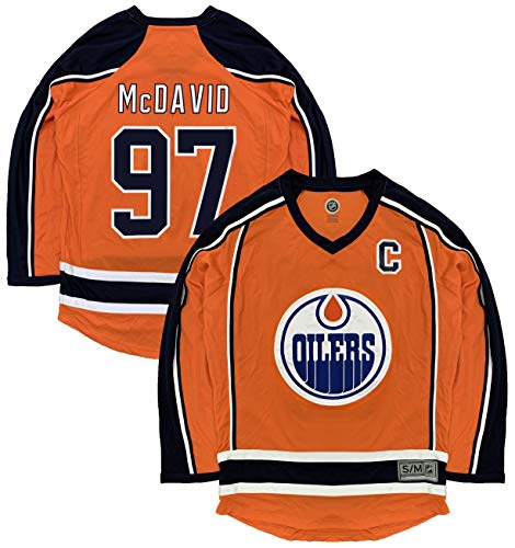 Connor McDavid Edmonton Oilers #97 Orange Men's 2 Stripe Team Apparel Jersey (Small/Medium)