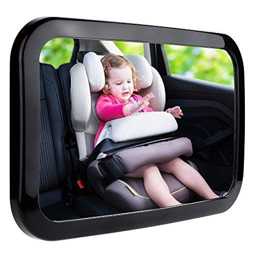 자크로 베이비 카 미러 자동차용 샤터 증명 아크릴 베이비 미러 베이비 미러를 쉽게 다시 보기 위해 아기의 모든 이동 안전 및 360도 조정 가능