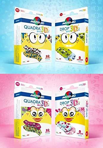 Vorteilspack sensitive Kinderpflaster, bunte Pflaster mit lustigen Motiven, QUADRA® 3D, DROP® 3D - MASTER AID (Pflastermotive für Mädchen und Jungen)