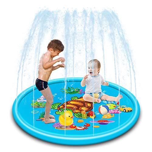Gutsbox Splash Pad, 170CM Aspersor de Juegos de Agua para Niños PVC Splash Play Mat Almohadilla de Juego de Agua para Niños, Jardín de Verano Juguete para Niños