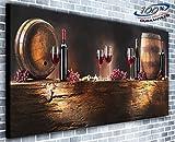 Bouteille de Vin et corps panoramique murale encadrée Impression sur toile XXL 139,7x 61cm de plus de 1,4m de large x 0,6m haute prêts à poser
