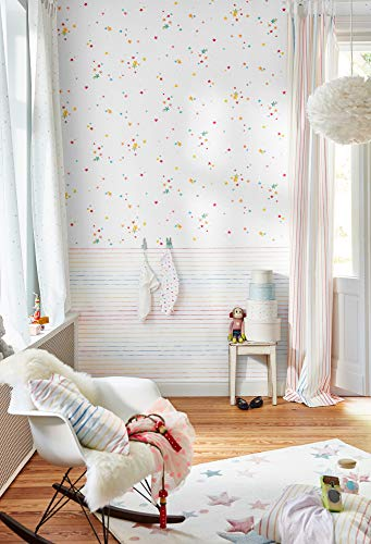 Esprit Kids Papiertapete Stars Tapete mit Sternen 10,05 m x 0,53 m bunt weiß Made in Germany 356962 35696-2