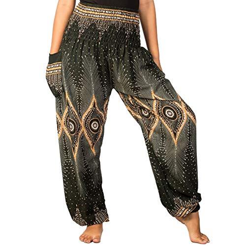 LOFBAZ Harem Pants for Women Yoga Boho Hippie Clothing Womens Palazzo Bohemian Pajama Beach Indian Gypsy Genie Clothes Floral 2 Dark Green 3XL