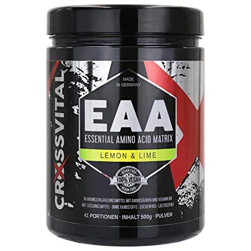 EAA Pulver I CROSSVITAL I LEMON & LIME I vegan I 500g I mit Vitamin B6 I mega Geschmack I 1A löslich I made in Germany