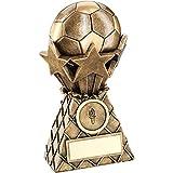 Brz/oro fútbol y estrellas Red Burst trofeo–(1in Centre) 6in