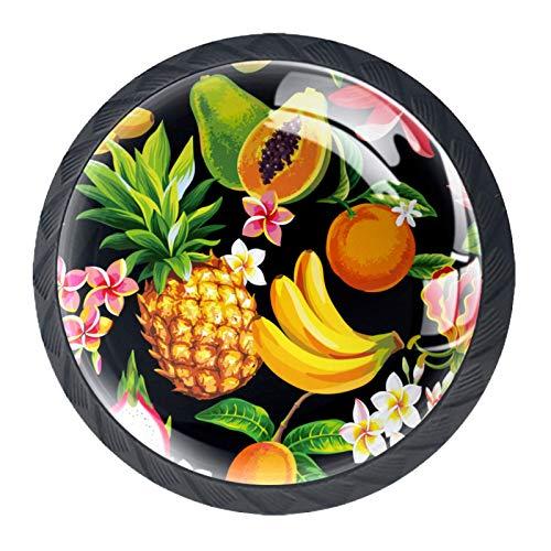 Juego de 4 pomos redondos para aparador, diseño floral, colorido y decorativo, para decoración del hogar, para frutas, piña, dragón, papaya, plátano, color negro