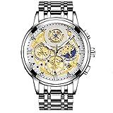 Orologio cronografo impermeabile da uomo in acciaio inossidabile con data, orologio impermeabile con cinturino in acciaio inossidabile stainless (A)