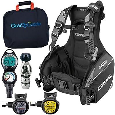 Cressi R1 BCD Leonardo Dive Computer AC2 Compact Regulator Set GupG Reg BagScuba Diving Package Grey Reg M