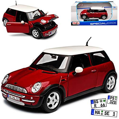 Mini Cooper R50 Rot mit Dach in Weiss 2001-2006 1/24 Maisto Modell Auto mit individiuellem Wunschkennzeichen
