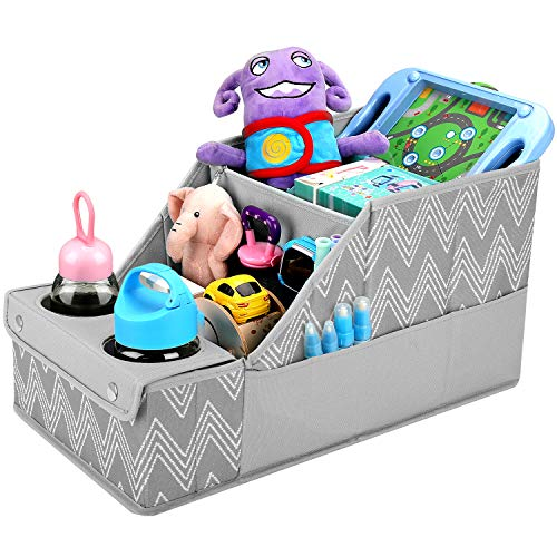 Collapsible Front & Backseat Car Organizer with Movable Dividers | Multifunction Seat Back Organization for Kids | Easy to Move and Clean & Large Capacity Kids Car Seat Organizer (Gray Cheveron)