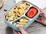 UORNI 3 Compartment Stainless Steel Lunch Box with Compartment/Kids Meal Box/Leakproof Bento Lunch