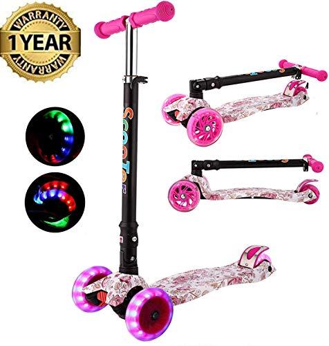 Oppikle 3 Räder Kinder Roller Scooter - Höhenverstellbarer Kinderroller Mit LED Leuchträdern Rollen Und Verstellbare Lenker Für Kleinkinder - Mädchen Oder Jungen Ab 3 Jahren (Rosa Graffiti)