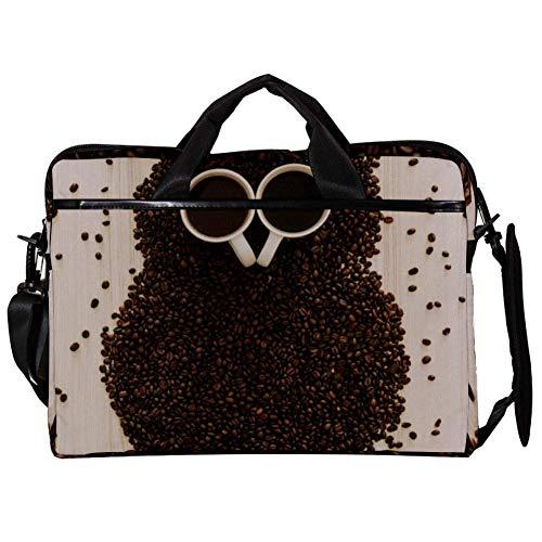 TIZORAX Laptop Messenger Schultertaschen Kaffeebohne Eule Computer Schutzhülle Notebook-Tasche 15-15,4 Zoll Handtasche