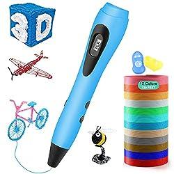 3D Stift, ESEUS 3D Stifte Set mit PLA 12 Farben für Kinder mit PLA Farben 180 Fuß, 3D Pen als kreatives Geschenk für Erwachsene, Bastler zu kritzeleien, basteln und 3D drücken