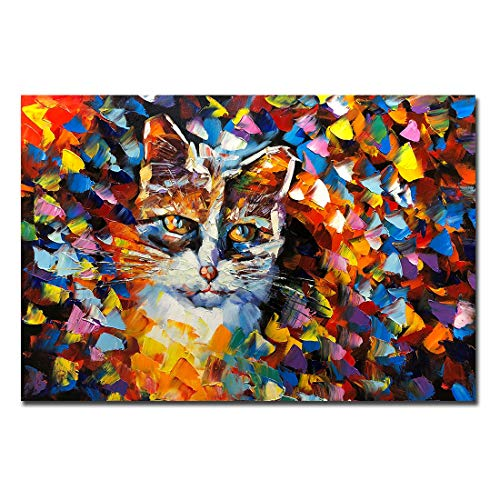 V-inspire 24x36 inch Animal Art Hand Painted Canvas Cat Oil Painting Modern Abstract Canvas Wall Art Landscape Artwork Home Decor Art Wood Inside Framed Ready to Hang