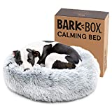 BarkBox Dog Bed, 2-in-1 Memory Foam Donut Cuddler Dog and Cat Bed, Calming Orthopedic Joint Relief Fur Crate Lounger for Pets, Machine Washable + Removable Cover, Waterproof Lining, Includes Toy