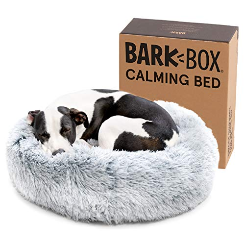 Barkbox 2-in-1 Memory Foam Donut Cuddler Dog Bed | Orthopedic Joint Relief Fur Crate Lounger for Dogs and Cats, Machine Washable + Removable Cover | Waterproof Lining | Includes Toy (Medium, Grey)