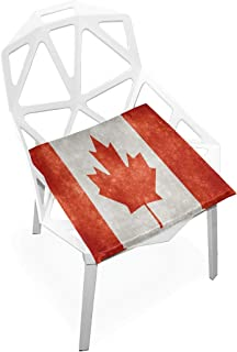 TSWEETHOME Comfort Memory Foam Square Chair Cushion Seat Cushion with Canada Flag Chair Pads for Floors Dining Office Chairs
