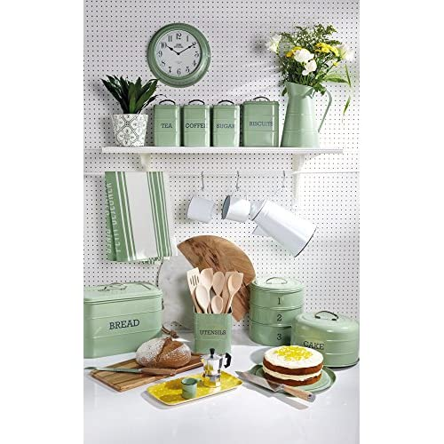 KitchenCraft Living Nostalgia Large Metal Bread Bin - Sage Green