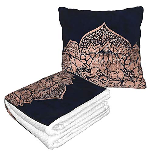 Manta de almohada de terciopelo suave 2 en 1 con bolsa suave moderna Boho oro rosa floral mandala acuarela funda para el hogar avión coche viaje películas