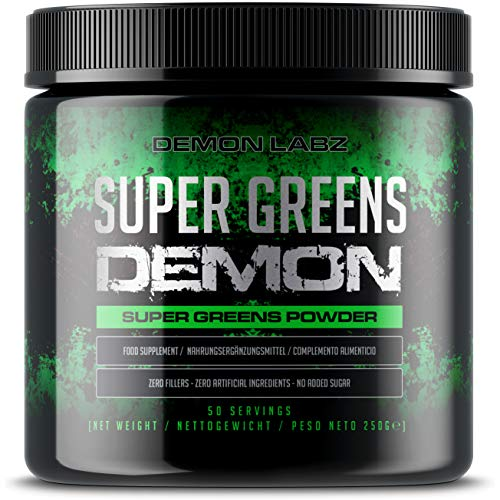 Super Greens Demon – Packed Full of Vegetables and Superfoods, Vegan & Vegetarian Friendly, Superfood Powder Blended in The UK with No Artificial Ingredients or Bulking Agents (250g, 50 Servings)