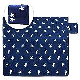 USTIDE Familiy und für Outdoor-Decke/X67, wasserdicht, mit Tragetasche, Frühling, Sommer, Marineblau, mit Picknick-Decke, Polyester, Navy Stars, 78.7'x78.7'