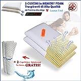 FACILCASA Coppia Cuscini Memory Foam   Guanciale Traspirante per Cervicale, Alta qualità   Offerta LAUNEN Tirol + Federa Lavabile Anallergica   Cuscini Letto per Dormire. (cm 72x42h13) Nr.2 Saponetta