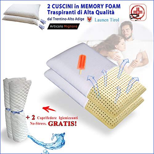 FACILCASA Coppia Cuscini Memory Foam | Guanciale Traspirante per Cervicale, Alta qualità | Offerta LAUNEN Tirol + Federa Lavabile Anallergica | Cuscini Letto per Dormire. (cm 72x42h13) Nr.2 Saponetta