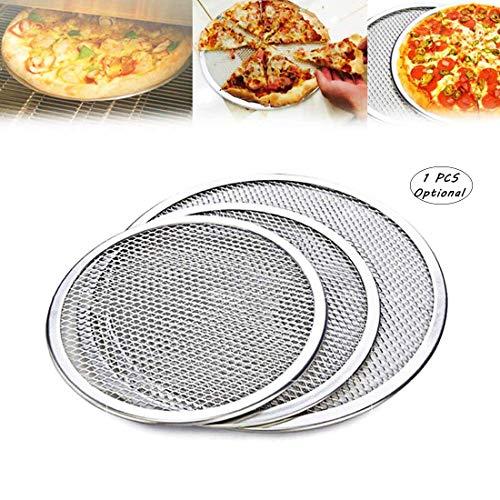 Hebudy, teglia rotonda per pizza, teglia per pizza, per forno antiaderente, con utensili da cucina da 25,4 cm, 30,5 cm, 35,6 cm 10 Argento.