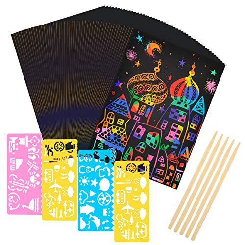 Dokpav 50 Hojas Scratch Art para Niños 18 * 12.5cm Negro Hojas para Rascar Arte Dibujos para Rascar Incluye 4 Plantillas de Plantillas de Dibujo y 5 Lápices de Madera