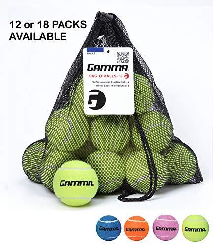 Gamma Saco de bolas de tênis sem pressão – Bolsa de malha resistente e reutilizável com cordão para facilitar o transporte – Bag-O-Balls (18 unidades, amarelo)