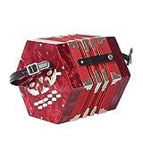 QFWN 20-botón de Concertina con la realización de Juego de Bolsa Primaria for Adultos Profesional Hexágono del acordeón Instrumento de Teclado (Color : Red)