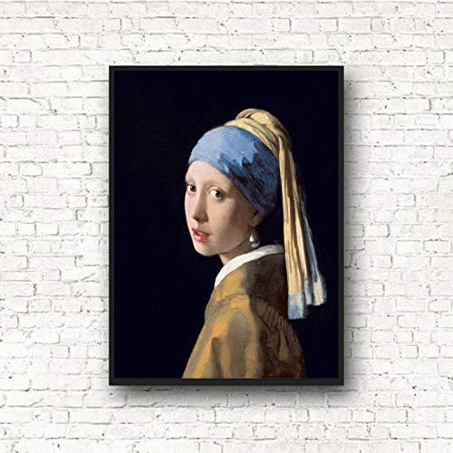 NOVELOVE Wandkunst Bild Mädchen Mit Einem Perlenohrring Ölgemälde Poster HD Print Leinwand Malerei Geschenk Ohne Rahmen 50 * 75 cm