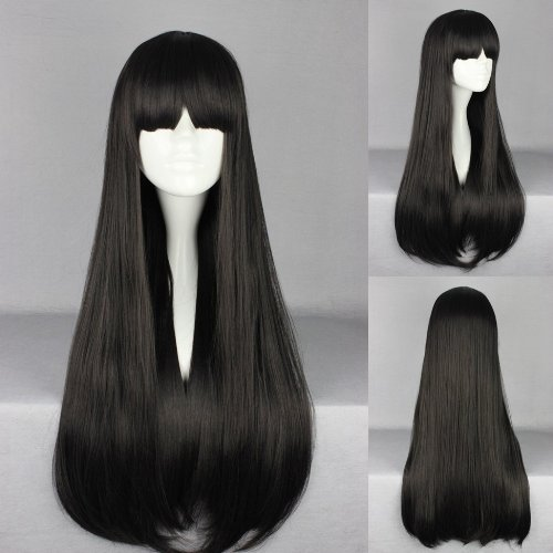 Ladieshair Cosplay Perücke schwarz 70cm glatt