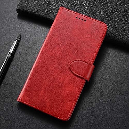 BANAZ HNZZ, Ternero Textura Horizontal Flip Funda de Cuero for Samsung Galaxy M20, con el sostenedor y Ranuras for Tarjetas y Monedero (Color : Red)