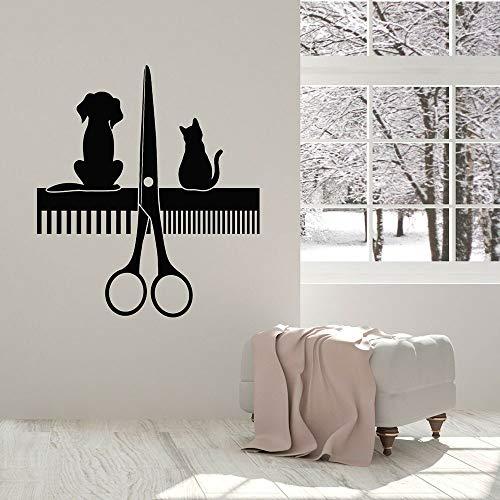 Hôpital pour animaux de compagnie Stickers muraux en vinyle Autocollants de toilettage pour animaux de compagnie pour salons de beauté pour chats et chiens Garniture de service de cheveux Logo 57x87cm