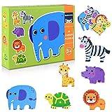 GrandEver 33 Piezas Puzzles de Madera Educativos Juguetes Bebes,Colorido Rompecabezas de Madera Juguetes de Inteligencia para niños 3-6 años (Animal)