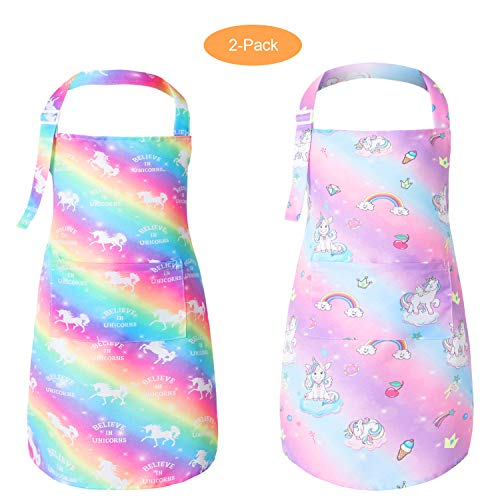 Pashop 2 Pack Kids Unicorn Bib Apron with Pocket Child Adjustable Rainbow Chef Apron Kitchen Aprons Children Artists Aprons for Cooking Baking Painting