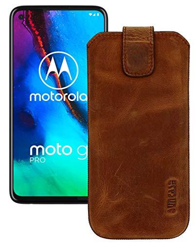 Suncase Leder Tasche kompatibel mit Motorola Moto G Pro Hülle mit ZUSÄTZLICHER Transparent Hülle | Schale | Silikon Bumper Handytasche (mit Rückzugsfunktion & Magnetverschluss) in antik-Coffee