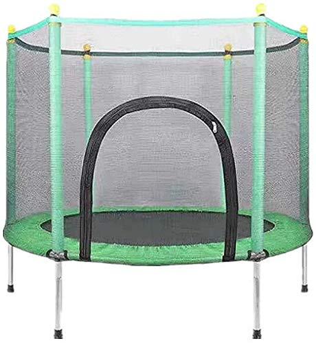 XLYAN Trampolines para Niños En El Patio Al Aire Libre En Interiores, Trampolín para Niños De 3 a 12 Años con Cerramiento,Green