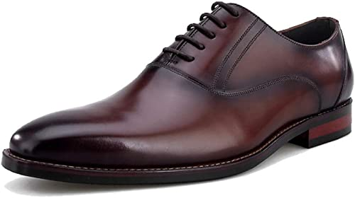 JCZR Chaussures en Cuir pour Hommes Tête Carrée Atmosphère Confortable Cravate Chaussures De Mariage