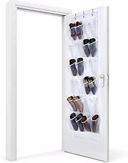 Eutuxia Over the Door 24 Pocket Shoe Organizer Hanging Rack with 3 Steel Door Hooks. Breathable Mesh Back with Transparent PVC Pockets. Good for Closet, Kitchen, or Organizing Your Room. Space Saver.