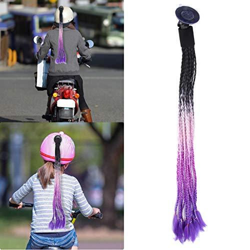 Trenzas de Casco de Moto,Cola de Caballo con Ventosa fácil de Desmontar Coleta para Casco de Motocicleta, El Mejor Regalo para Ciclista para Pista, Color Degradado (Black Powder Purple Blue)