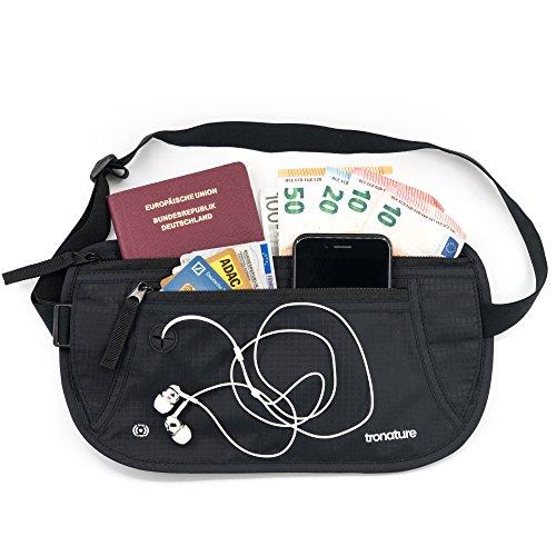 tronature Ceinture de Voyage RFID - Pochette Voyage - Ceinture Porte-Billets - Antivol Invisible Sous Vêtements - Portefeuille de Sécurité pour Les Passeports, Cartes de Crédit, Carte d'Identité