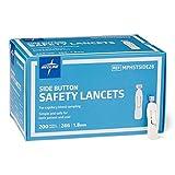 Medline MPHSTSIDE28Z Side Button Safety Lancets, 28G, 1.8 mm Depth, Box of 200