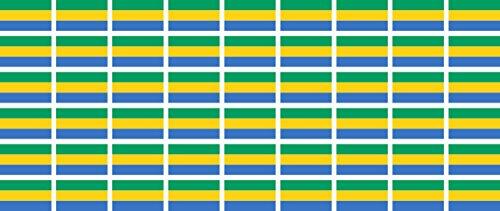 Mini Aufkleber Set - Pack glatt - 20x12mm - Sticker - Fahne - Gabun - Flagge-Banner-Standarte fürs Auto, Büro, zu Hause & die Schule - 54 Stück